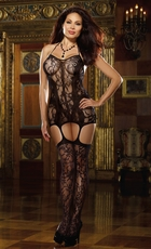 Floral Net Dress and Attached Stockings