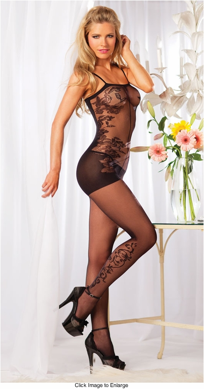 Floral Scroll Bodystocking with Opaque Back
