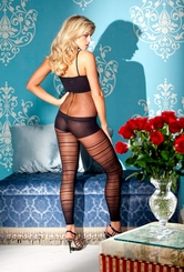 Footless Bodystocking with Opaque Stripes