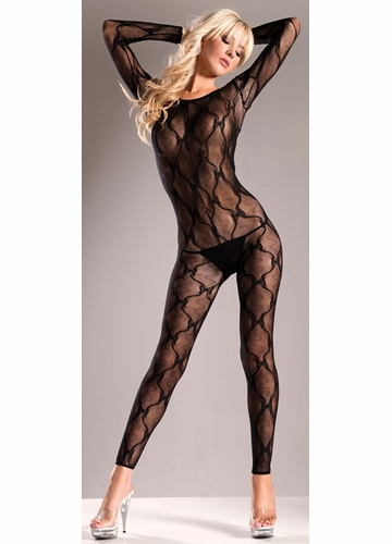 Footless Lace Bodystocking with Criss Cross Back