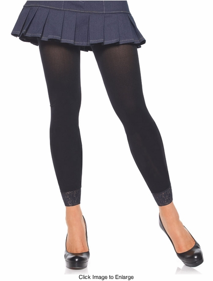 Footless Legging Tights with Lace Trim