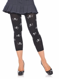Footless Tights with Skull Print