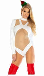 Frost White Sequin and Mesh Bodysuit