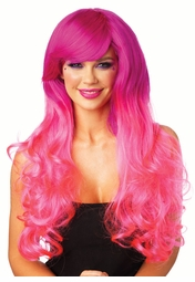 Fuchsia/Pink Ombre Two Tone Wavy Wig