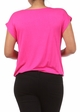 Fuchsia Plus Size Short Sleeve Cowl Neck Top inset 3