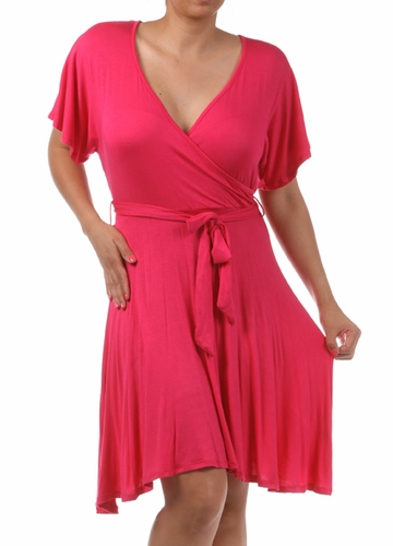 Fuchsia Plus Size Short Sleeve Faux Wrap Dress with Waist Tie