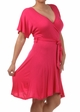 Fuchsia Plus Size Short Sleeve Faux Wrap Dress with Waist Tie inset 1