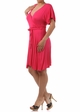 Fuchsia Plus Size Short Sleeve Faux Wrap Dress with Waist Tie inset 2