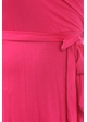 Fuchsia Plus Size Short Sleeve Faux Wrap Dress with Waist Tie inset 4