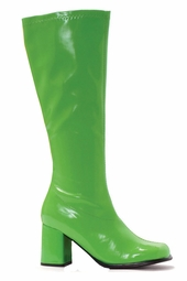 "3"" Gogo Boots in Lime Green Vinyl Patent Leather"