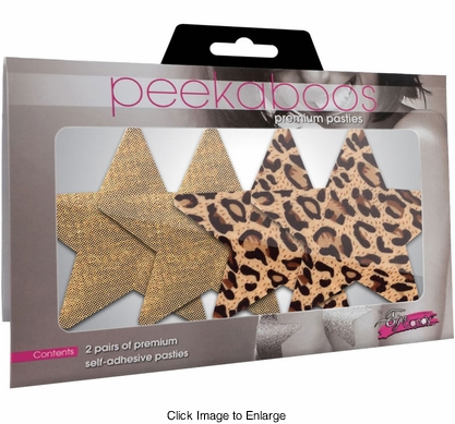 Gold and Leopard Star Self Adhesive Pasties