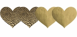 Gold Heart Self Adhesive Pasties