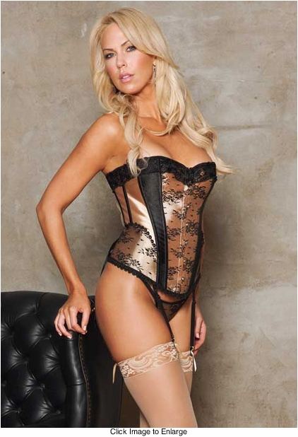 Gold Satin Corset with Lace Overlay