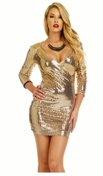 Gold Sequin Dress with Plunging Neckline