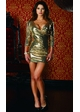 Gold Sequin Dress with Plunging Neckline inset 1