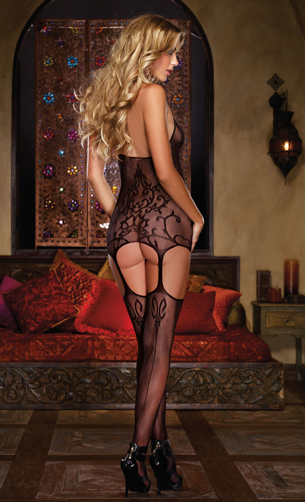 Gothic net Dress and Attached Stockings