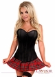 Gothic Schoolgirl Corset Costume with Plaid Mini Skirt inset 1