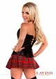 Gothic Schoolgirl Corset Costume with Plaid Mini Skirt inset 2