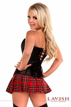 Gothic Schoolgirl Corset Costume with Plaid Mini Skirt