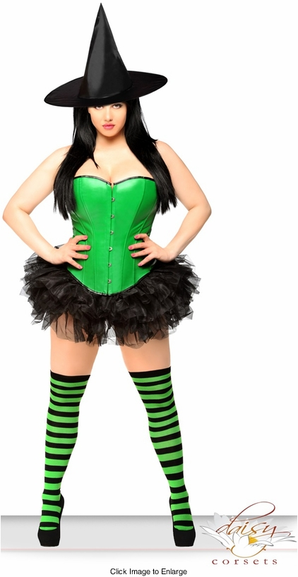 Green Corset Witch Costume with Hat, Petticoat and Stockings