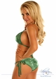 Green Glitter Pucker Back Bikini with Rhinestones inset 1