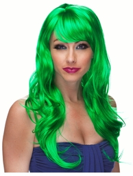 Green Long Curl Burlesque Wig