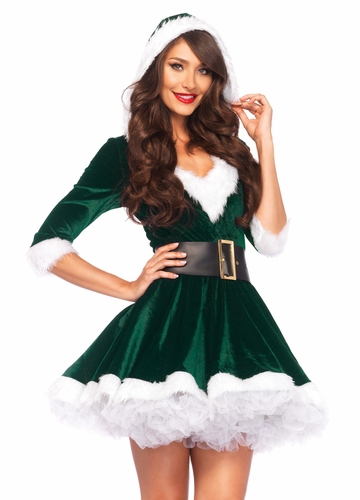 Green Mrs. Claus Christmas Costume Dress with Fur Trim