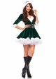 Green Mrs. Claus Christmas Costume Dress with Fur Trim inset 1
