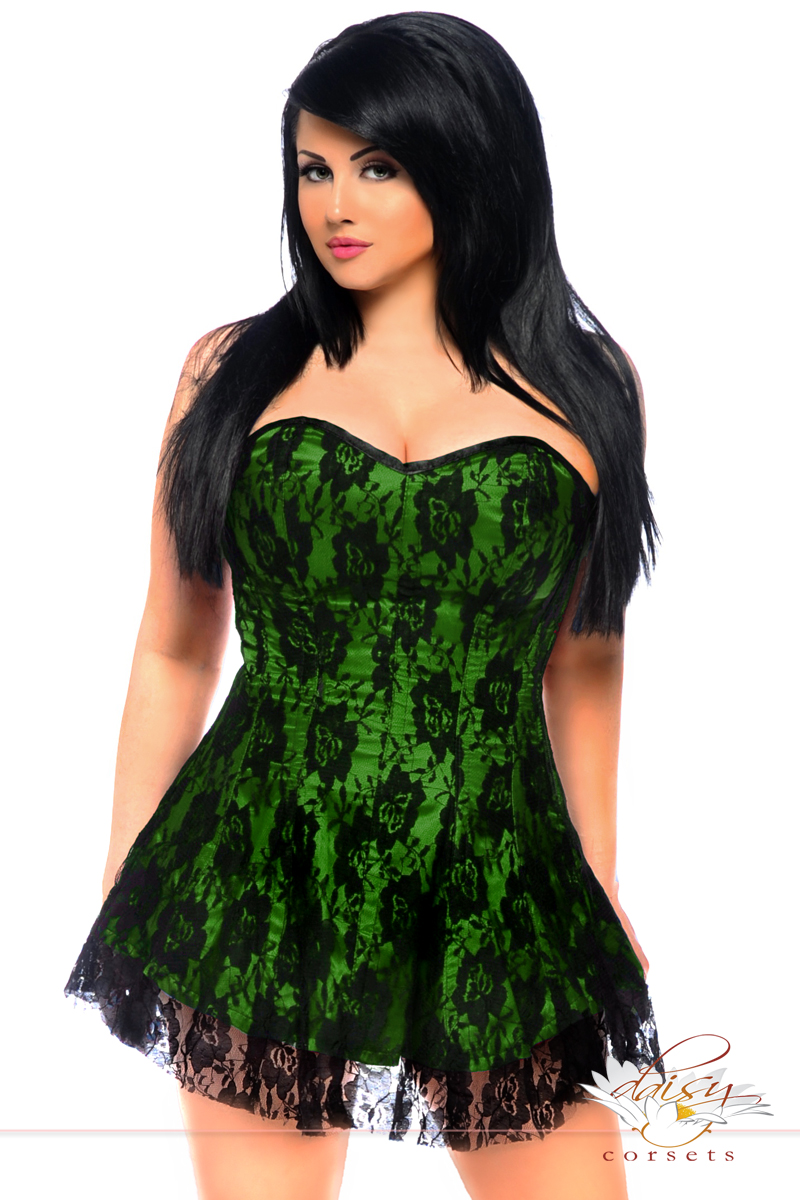 Green Satin Corset Dress with lace Overlay