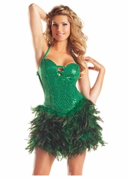 Green Sequin and Feather Dress