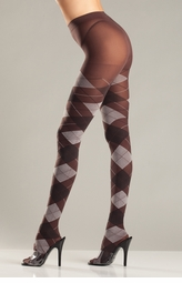 Grey Argyle Pantyhose