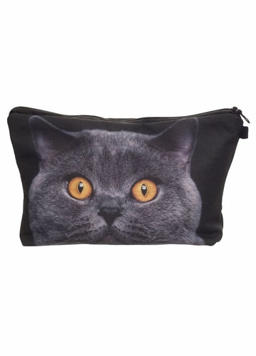 Grey Cat Make-Up Case