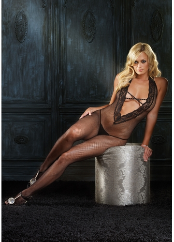 Halter Fishnet Bodystocking with V-front