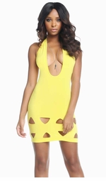 Morgan Halter Dress with Triangle Cutouts