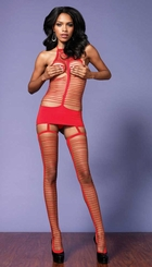 Halter Shredded Garter Dress with Stockings