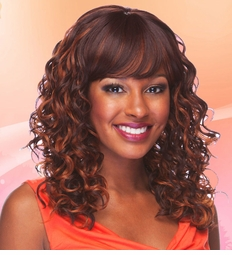 Heat and Styling Friendly Wig with Spiral Curls and Bangs