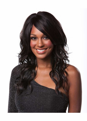 Heat Friendly Long Hair Wig w/ Tousled Water Waves & Side Swept Bangs