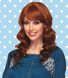 Heat Safe Long Hair Bouncy Glamour Curls and Full Bangs Wig
