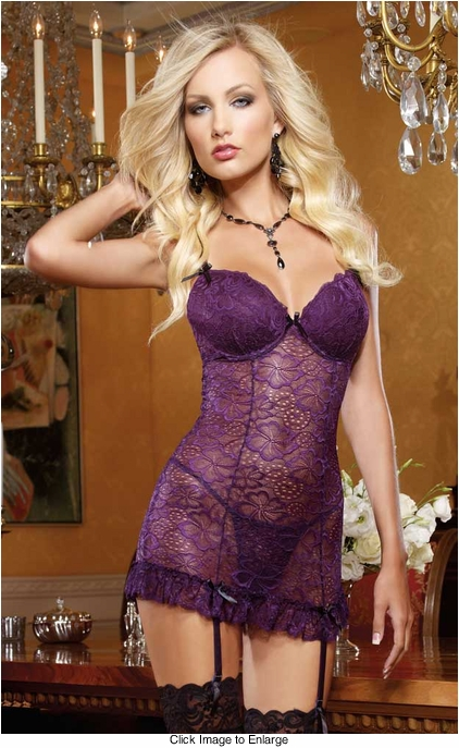 Hibiscus Lace Garter Dress and Thong