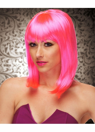 Hot Pink Bob Wig Doll With Bangs