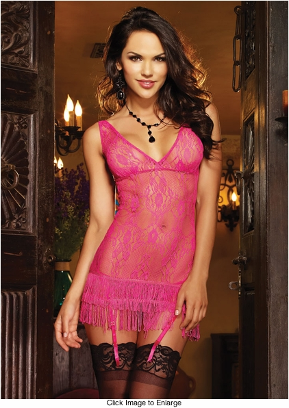 Hot Pink Lace Dress with Fringe