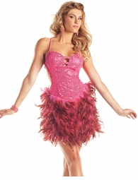 Hot Pink Sequin and Feather Dress
