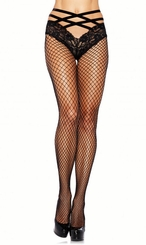 Industrial Net Pantyhose with Attached Lace Panty