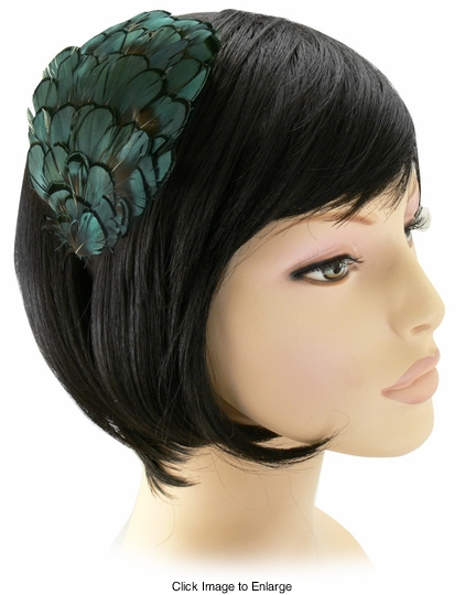 Iridescent Green Feather Headband
