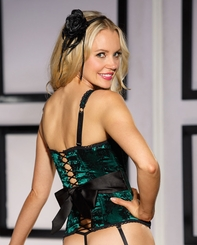 Jade Green Satin Corset with Bow Back