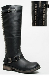 Knee High Biker Boots with Back Zipper and Studs