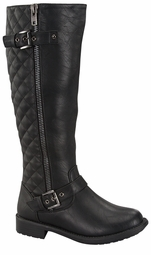 Knee High Boots with Quilted Detail
