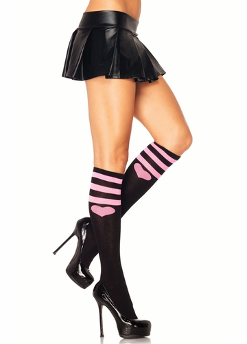 Knee High Socks with Stripes and Heart