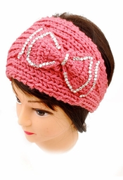 Knit Headband with Bow and Crystal Accent