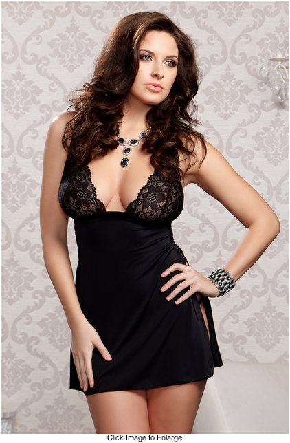 Lace Babydoll with Side Slit and G-string